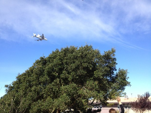 Space Shuttle Endeavour flying over Madera!